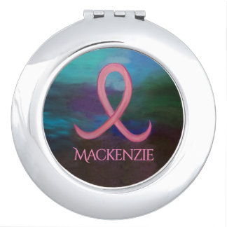 Supportive Gift   Name Bold Pink Breast Cancer Compact Mirrors