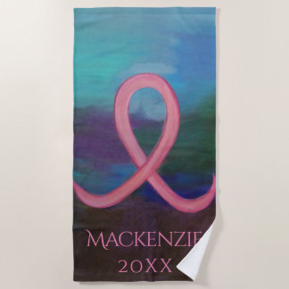 Supportive Play | Name Bold Pink Cancer Ribbon Beach Towel