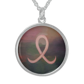 Supportive Rust Pink Breast Cancer Ribbon Sterling Silver Necklace