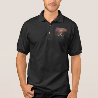 Supportive Rustic Breast Cancer Awareness Ribbon Polo Shirt
