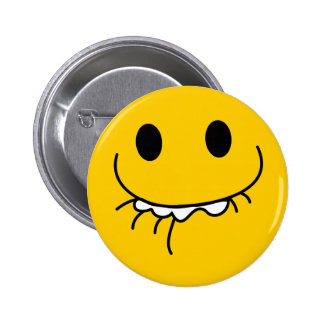 Suppressed laughing yellow smiley face 2 inch round button