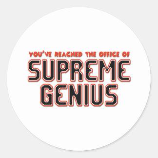 Supreme Genius Round Sticker