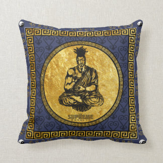 Supreme Royalty First Buddhist Pillow(Blue,Gold) Throw Pillow