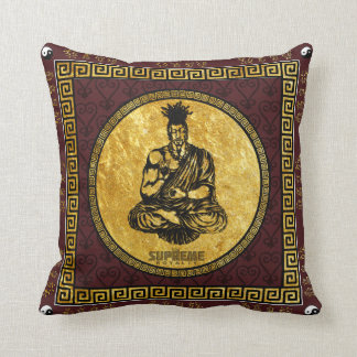 Supreme Royalty First Buddhist Pillow(Brown,Gld) Throw Pillow