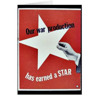 Sur la guerre la production a gagné une étoile cartes de vœux