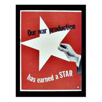 Sur la guerre la production a gagné une étoile carte postale