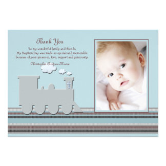 Sur le carte de remerciements bleu de photo de voi