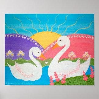Sur le lac swan - les vilains petits canards 8x10 poster