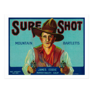 Sure Shot Pear Crate LabelPotter Valley, CA Postcard