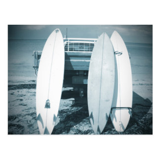 Surf 3 surfboards quiver blue surfboard surfing postcard