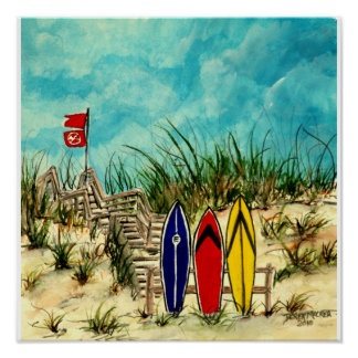 surf art - surfboards and sand dunes San Diego Poster