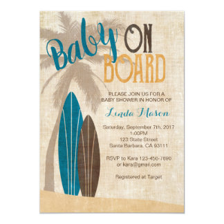 Surf Baby Shower Invitation with Surfboards