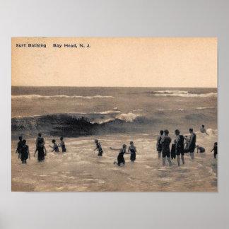 Surf Bathing, Bay Head NJ, Vintage Poster