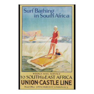 Surf Bathing in South Africa Vintage Travel Poster