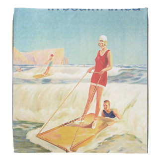 Surf Bathing in South Africa Vintage Travel Poster Bandanna
