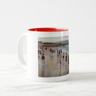 Surf Bathing, Redondo Beach, California Vintage Two-Tone Coffee Mug