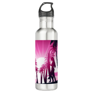 Surf board at sunrise 710 ml water bottle