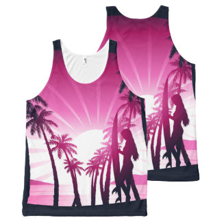 Surf board at sunrise All-Over-Print tank top