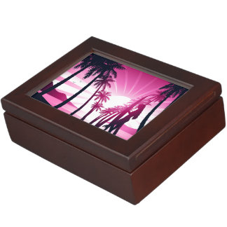 Surf board at sunrise keepsake box