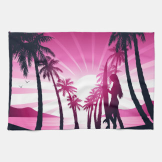 Surf board at sunrise kitchen towel