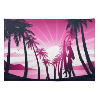 Surf board at sunrise placemat