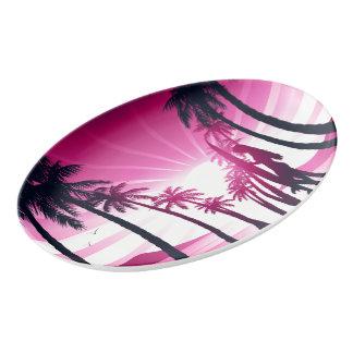 Surf board at sunrise porcelain serving platter