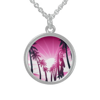 Surf board at sunrise sterling silver necklace