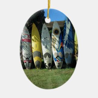 Surf Board Ceramic Ornament