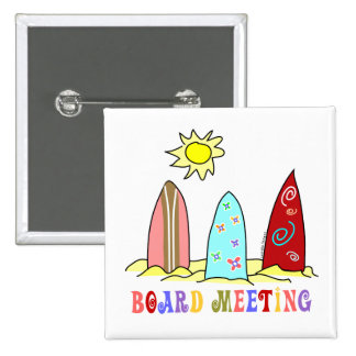 Surf Board Meeting 2 Inch Square Button