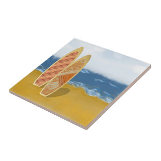 Surf Boards On The Beach Art Tile