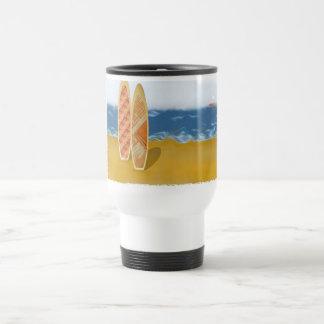 Surf Boards On The Beach Travel Mug