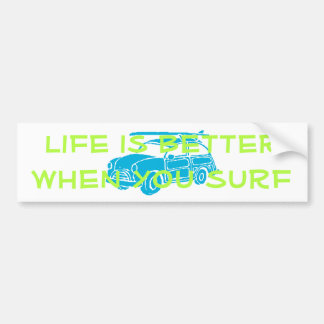 Surf car bumper sticker