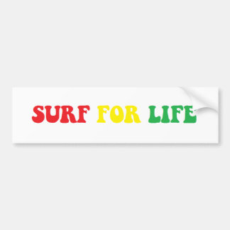 Surf for Life rasta sticker Bumper Sticker
