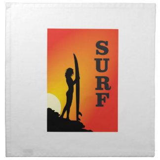 surf girl napkin
