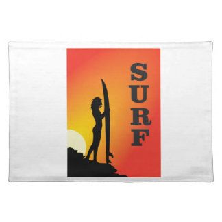 surf girl placemat