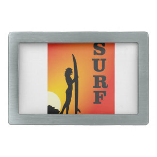 surf girl rectangular belt buckle