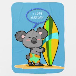 Surf Koala Bear Baby Blanket