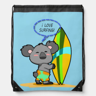 Surf Koala Bear Drawstring Backpack