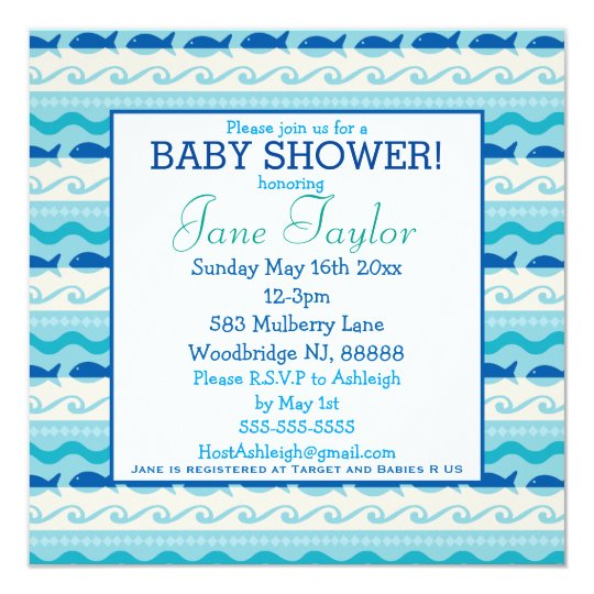 Surf 'N Fishies Nautical Baby Shower Card