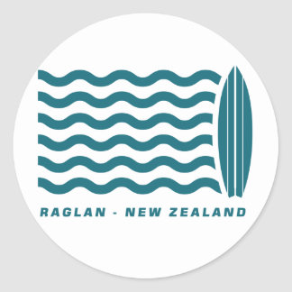 Surf Raglan New Zealand Classic Round Sticker