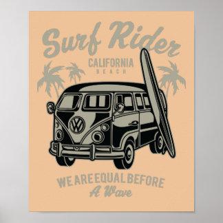Surf Rider California Beach Poster