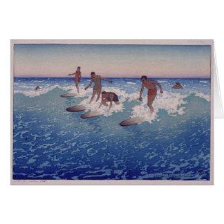 'Surf-Riders, Honolulu' - Charles W. Bartlett Card