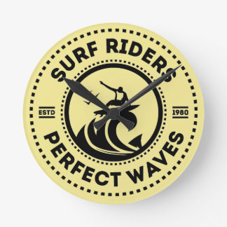 Surf Riders Retro Badge Wall Clock