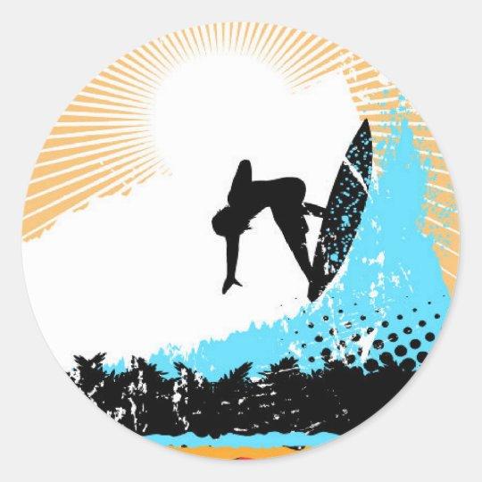 Surf Round Sticker