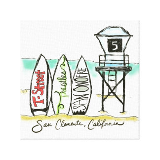 Surf San Clemente Canvas Wall Art