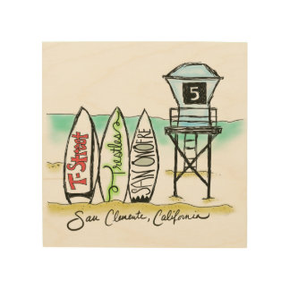 Surf San Clemente Wood Wall Art Wood Canvas