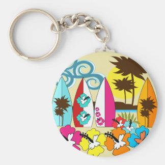 Surf Shop Surfing Ocean Beach Surfboards Palm Tree Basic Round Button Keychain