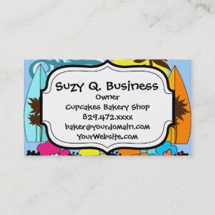 Beach ocean palm tree business cards profile cards zazzle ca surf shop surfing ocean beach surfboards palm tree business card colourmoves