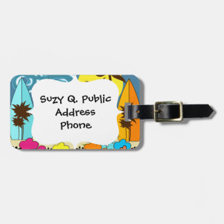 Surf Shop Surfing Ocean Beach Surfboards Palm Tree Luggage Tag