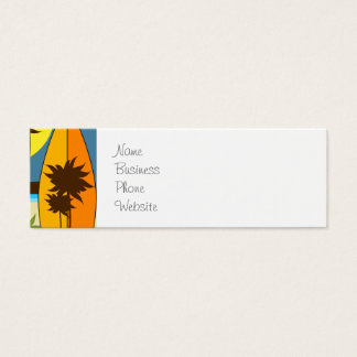 Surf Shop Surfing Ocean Beach Surfboards Palm Tree Mini Business Card